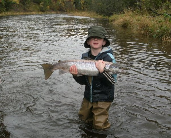 5 year old Nelson Leuchner  with a fine Atlantic salmon