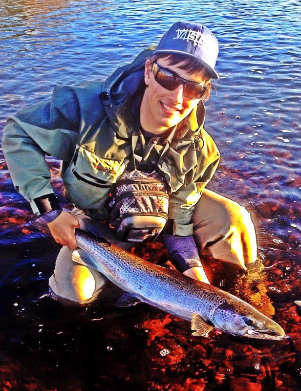 Chris Sinclair contributes another salmon kelt to our hatchery broodstock.